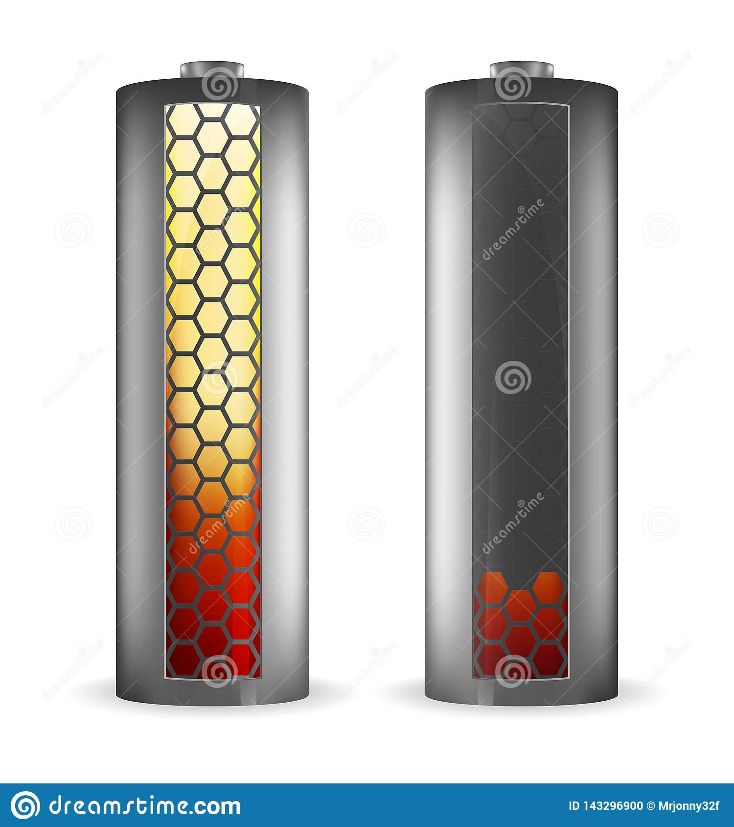 Two grey batteries with hexagons red-yellow indicator
