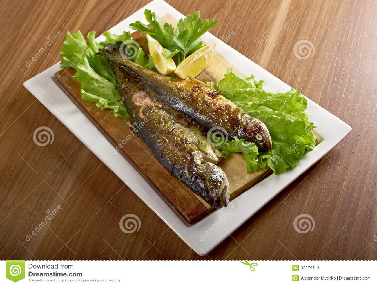 Two grilled Rainbow Trouts