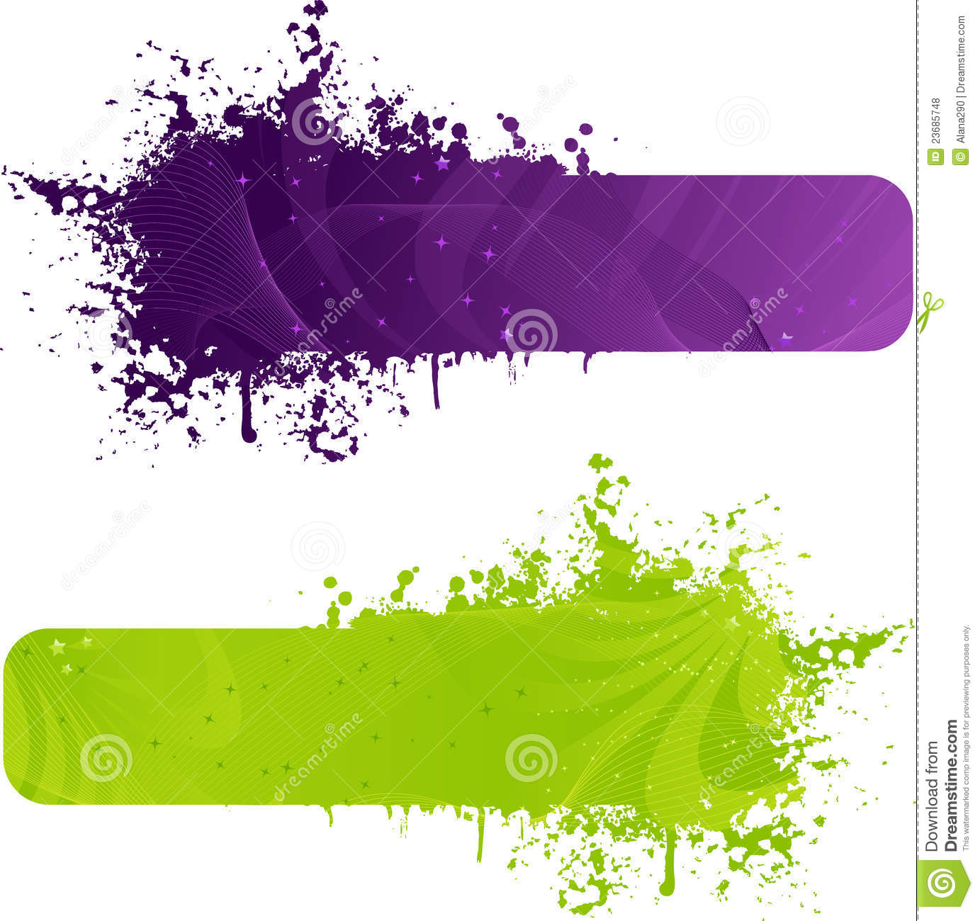 two grunge banner in purple and green colors stock vector