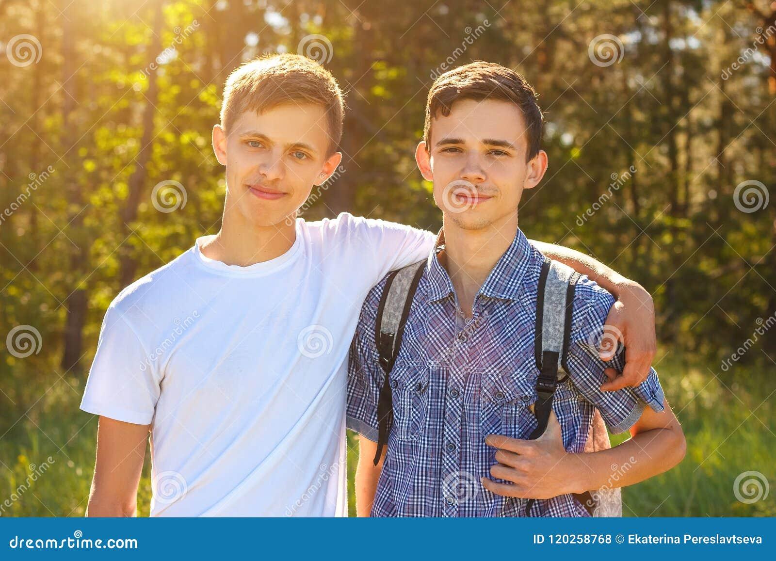 Two guys hugging