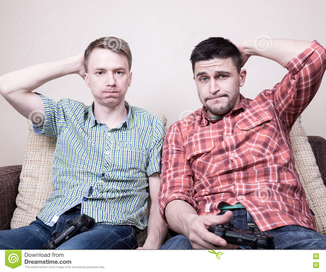 Two Guys Playing Video Games Stock Photo Image Of