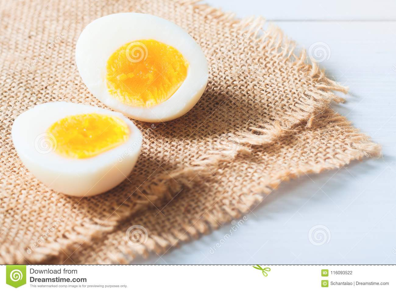 Two Half Of Hard Boiled Egg On Table Healthy Food Nutrition Co Stock Photo Image Of Closeup Leaf 116093522