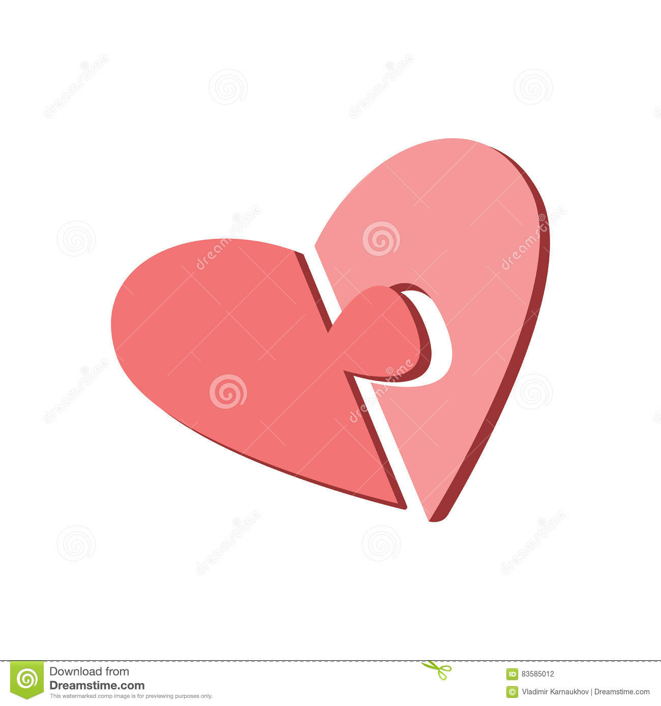 Two Halves Of The Heart On A White Background Parts Of The Puzzle