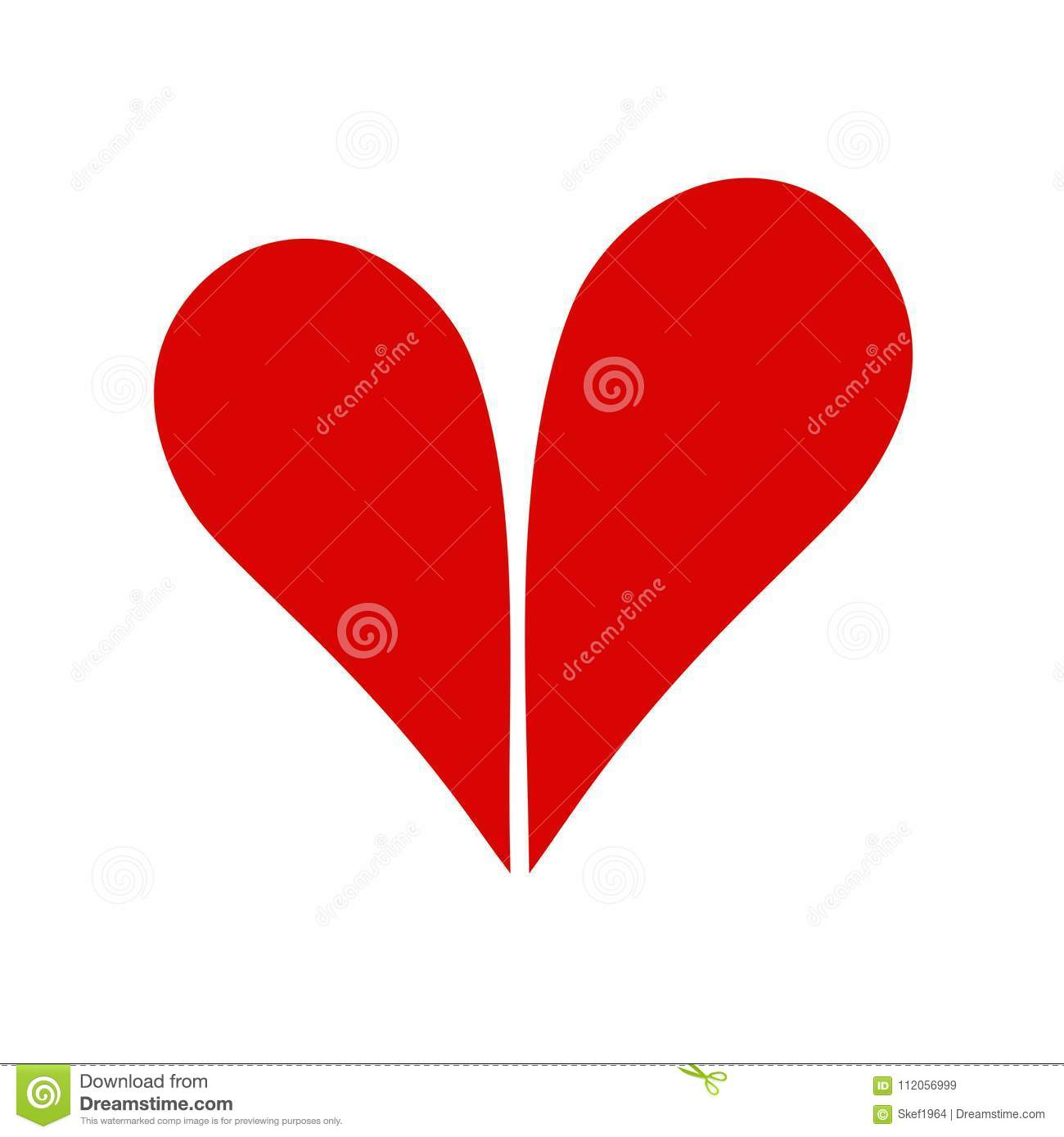 Two Halves Of One Heart Love Concept Icon Bitmap Image Stock