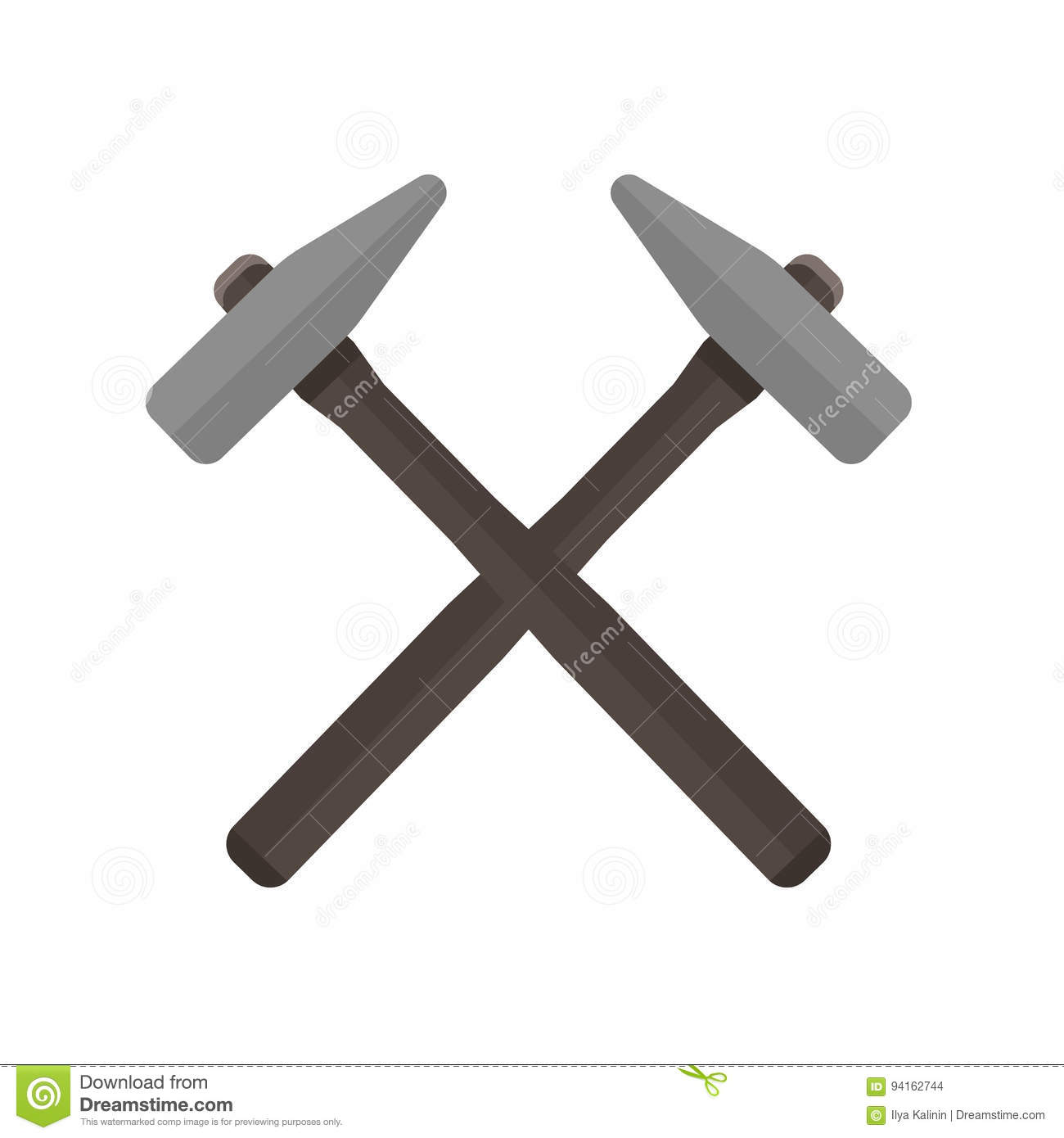 Two Hammers Crossed With Each Other Vector Illustration Stock Photo