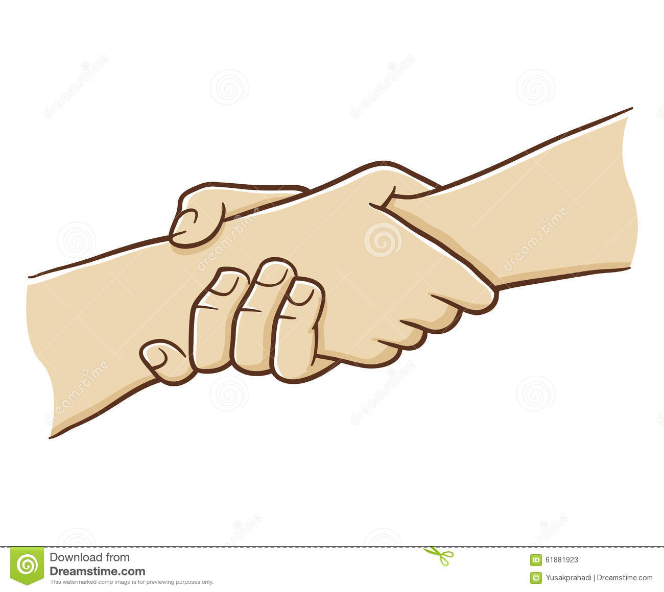 Two Hand Holding Each Other With Strong Grip Cartoon
