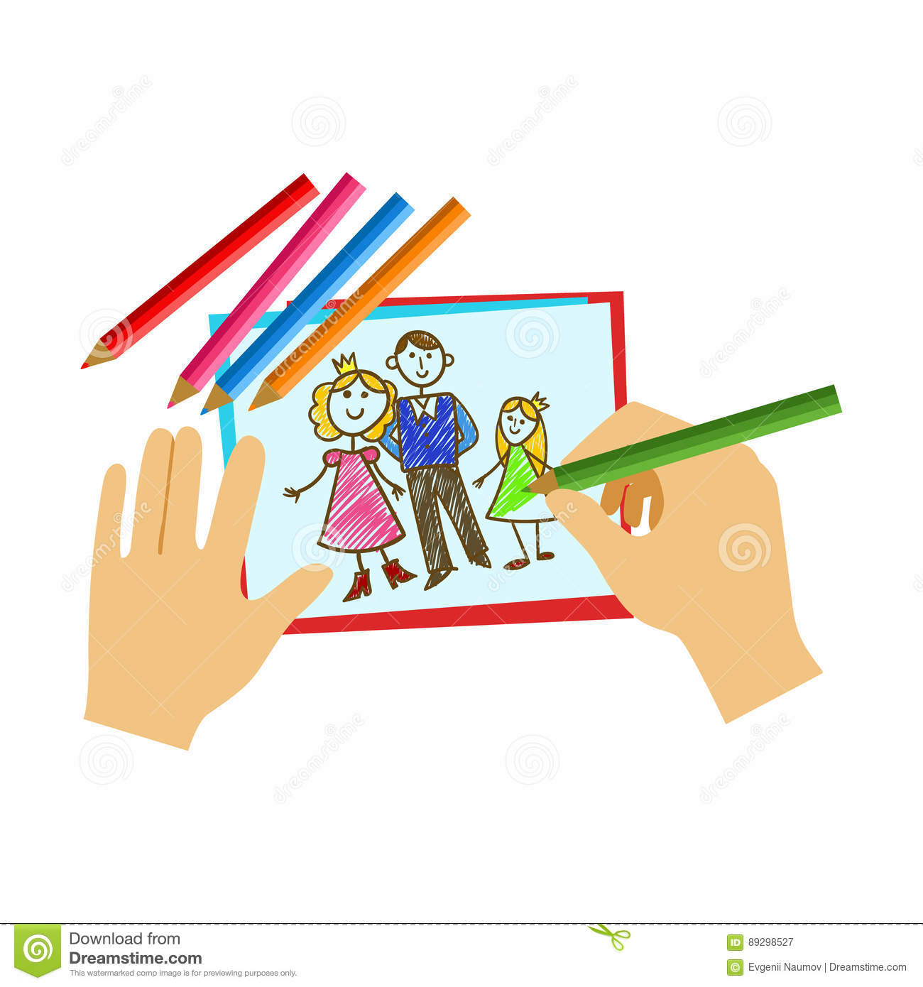 Two Hands Coloring With Pencil A Book Page Elementary School Art Class Vector Illustration