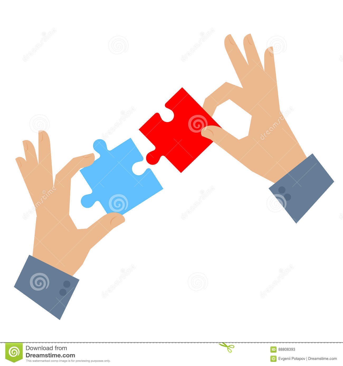 Hands With Puzzle, Teamwork Concept Cartoon Vector ...