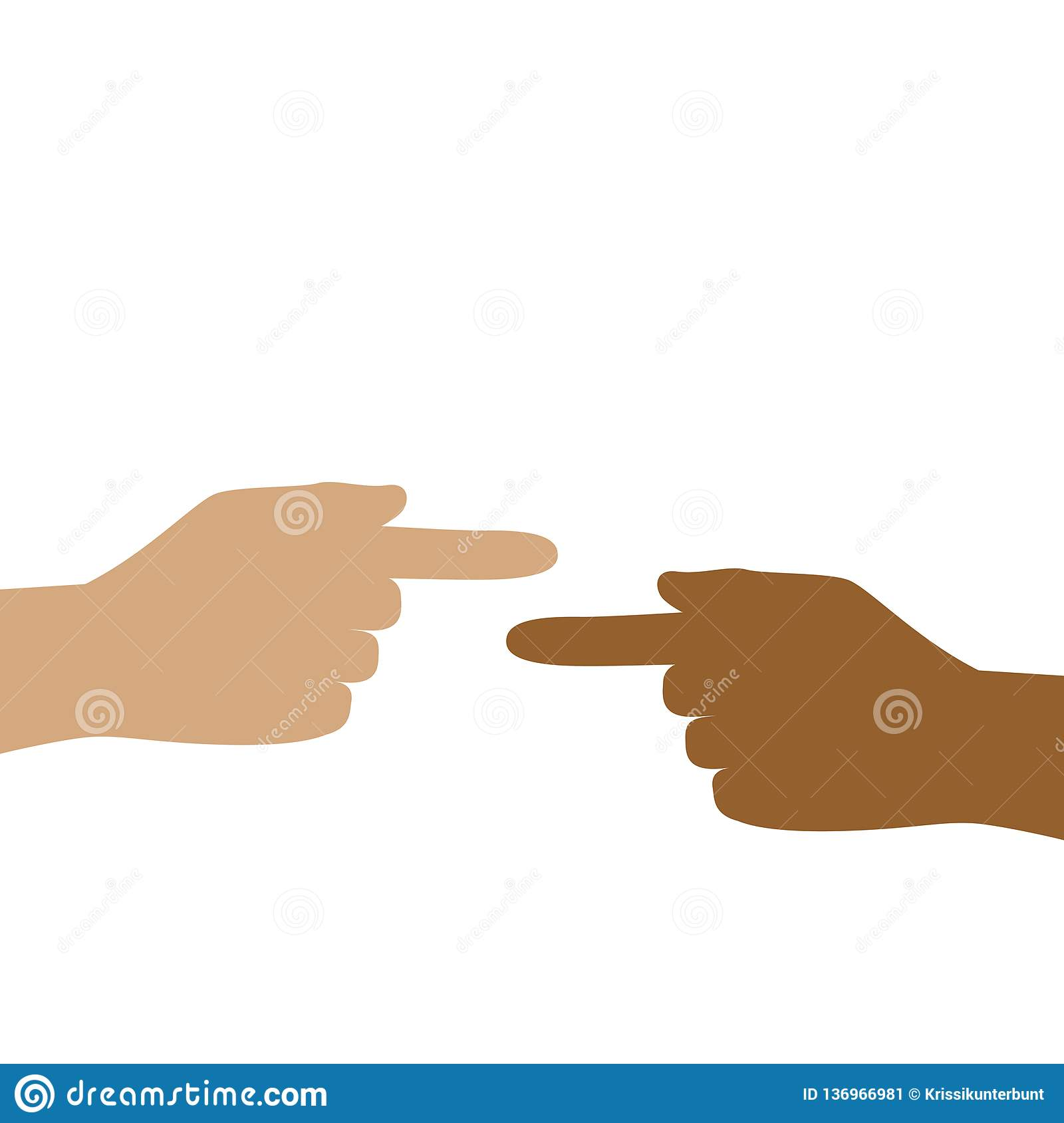 Two hands with different skin color show each other