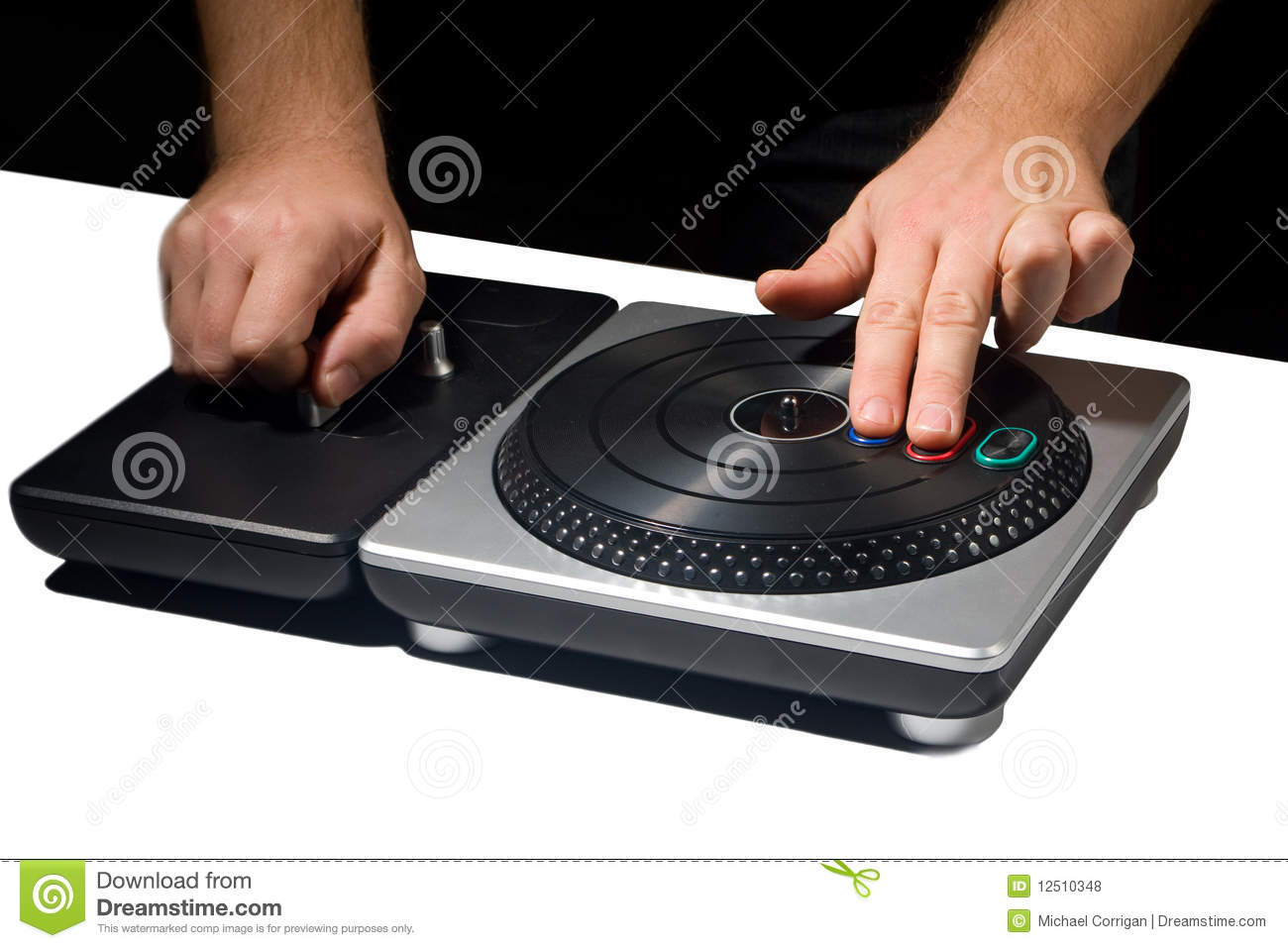Two Hands On Dj Turntable Game Royalty Free Stock Photos