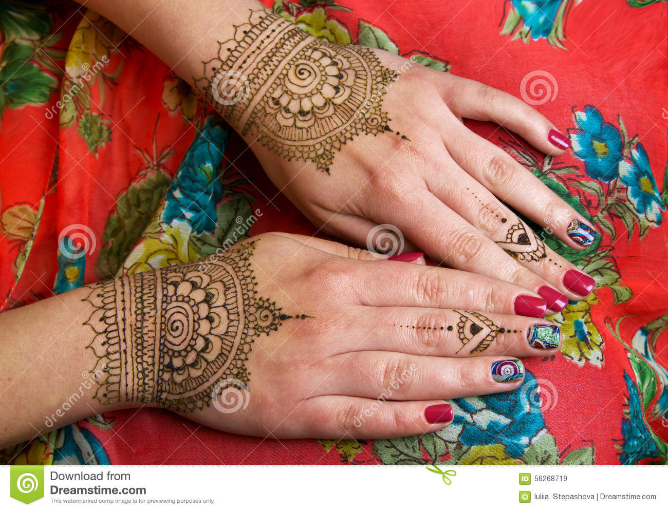 Two Hands With Henna Tattoos Mehendi Designs Stock Image Image Of