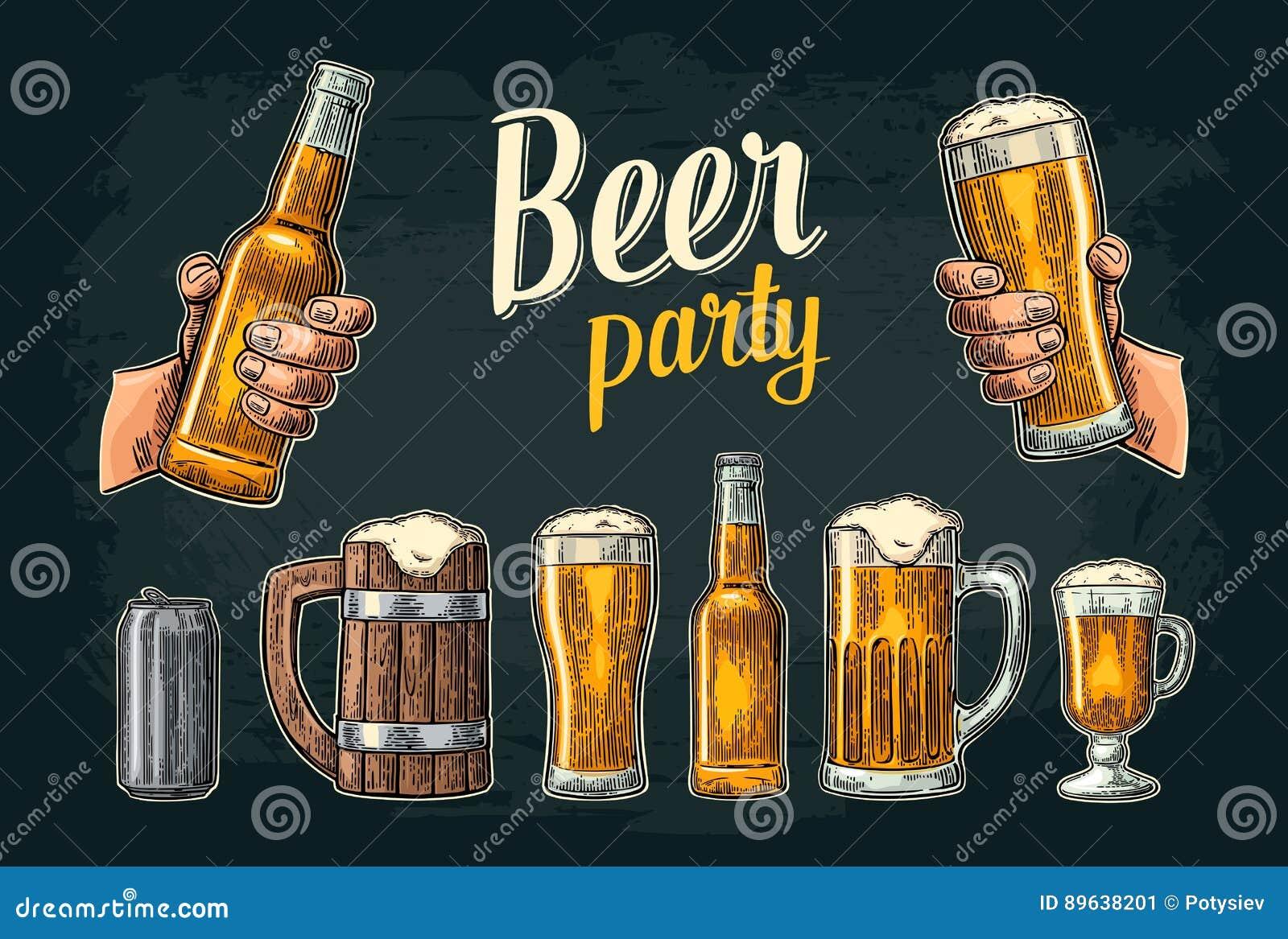 Two hands holding beer glasses mug. Glass, can, bottle. Vintage vector engraving illustration for web, poster