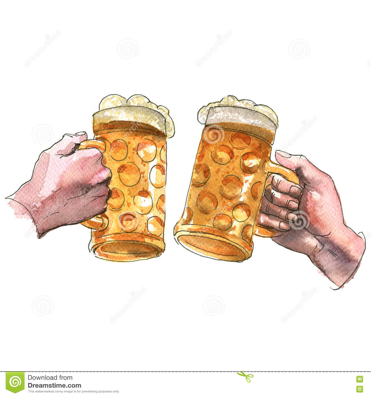 Two hands holding beer mugs making toast, cheers, watercolor illustration