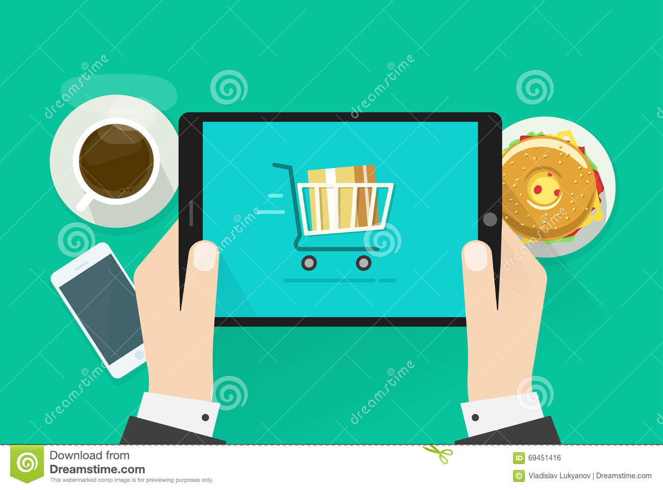 Two hands holding tablet computer device vector illustration