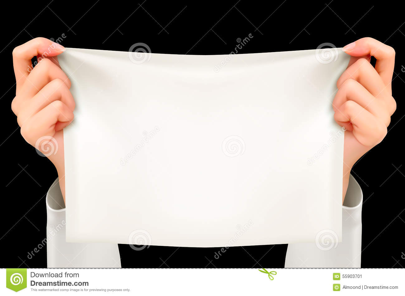Two Hands Holding White Poster (Sample Text). Stock Photo ...