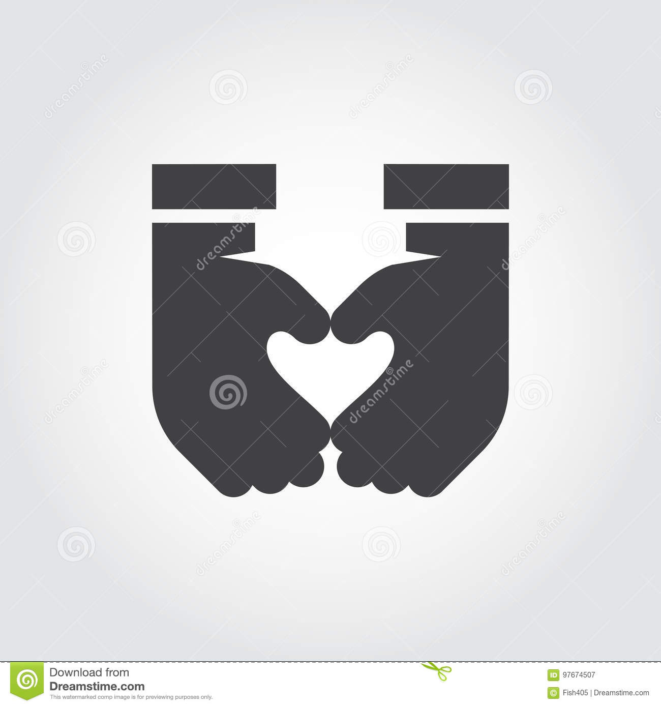 Two Hands Make Heart Shape Black Flat Icon Symbol Love Romance