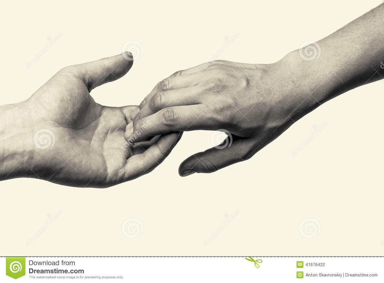 Two Hands -parting Stock Photo - Image: 41676422