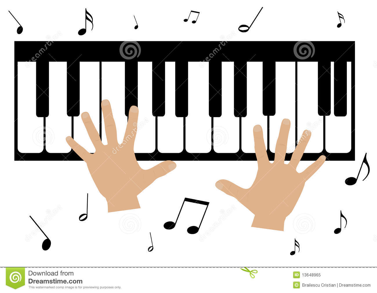 Two Hands, A Piano And Music Notes Stock Vector ...