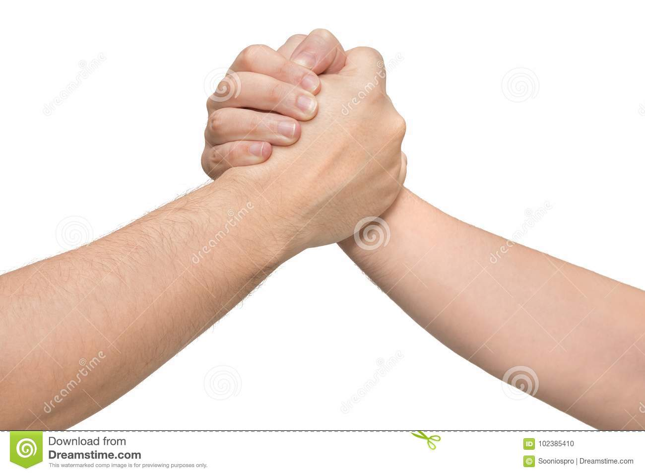 Two hands in a wrestling arm. Isolated white background