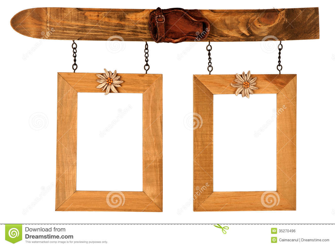 Two Hanged Wooden Photo Frames Stock Photo - Image of craft, flower ...