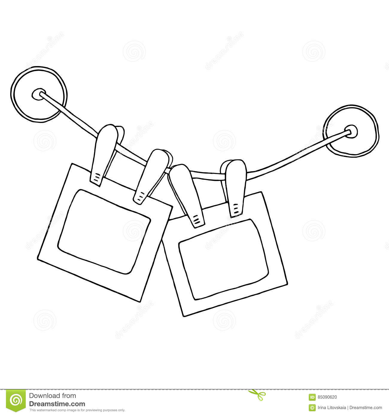 Two Hanging Photo Frames With Clips On The Rope And Silicone Suction Cups  Stock Vector