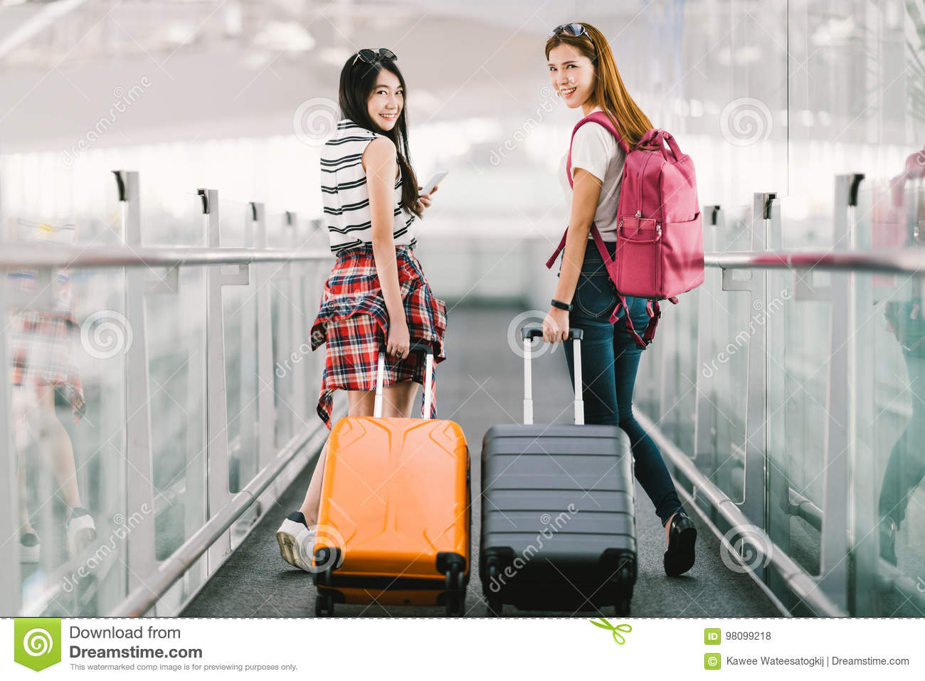 Two Happy Asian Girls Traveling Abroad Together b3fe670e6ef8d