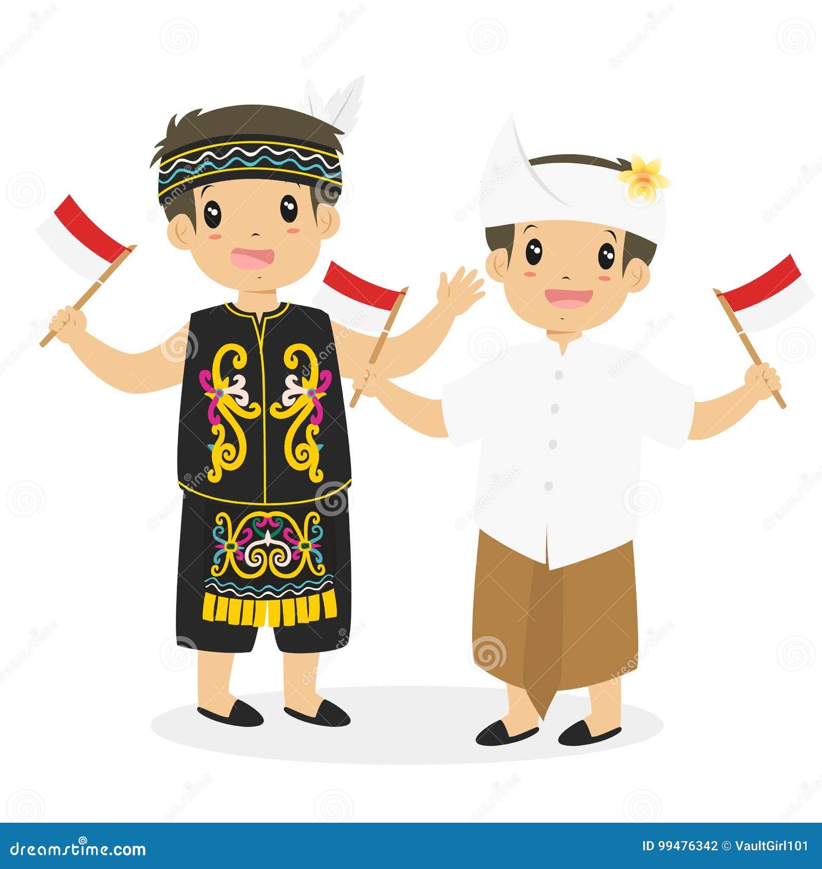 Dayak And Bali Kids Holding Indonesian Flag Cartoon Vector Stock ...