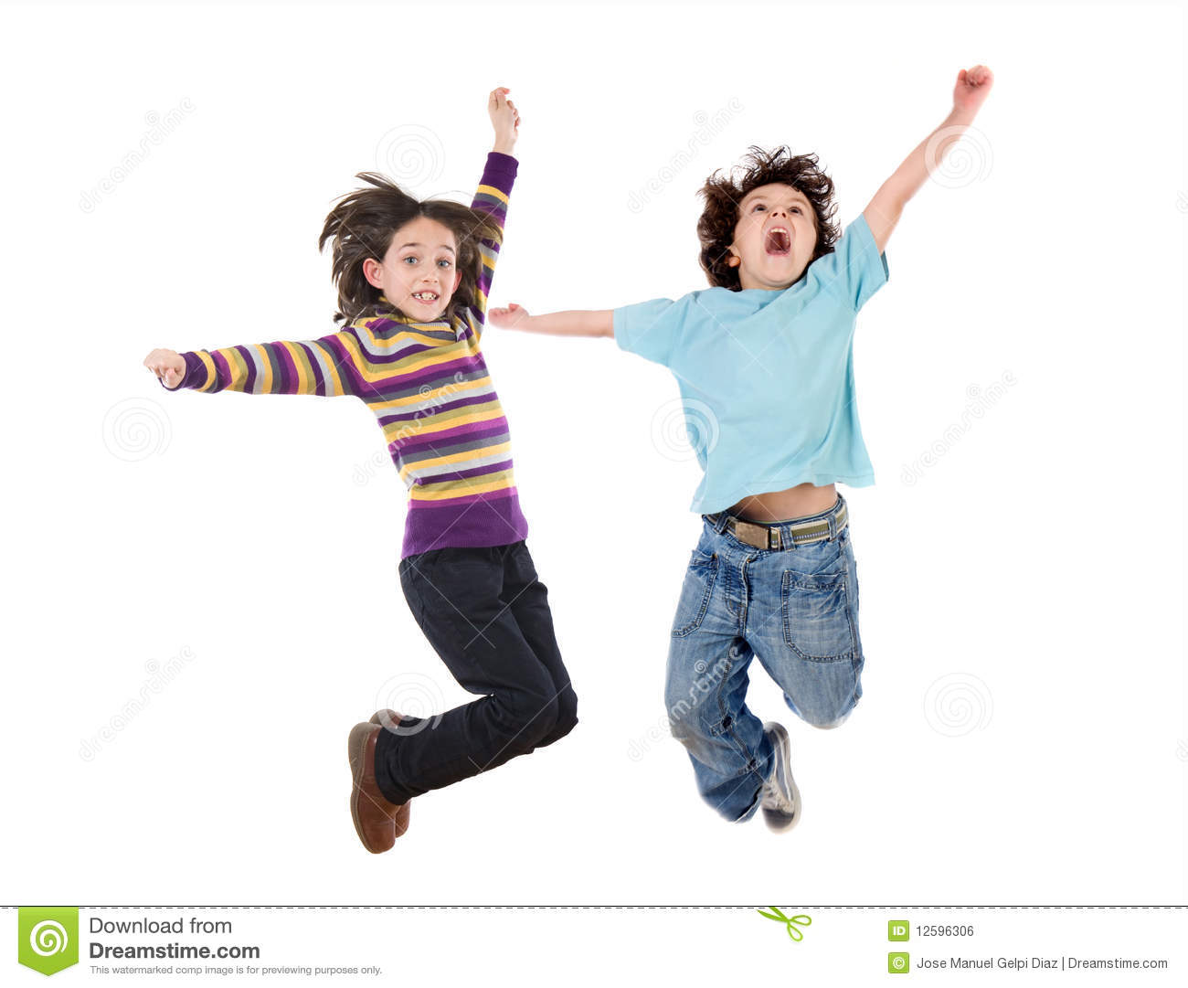 Two Happy Children Jumping At Once Stock Photo - Image ...