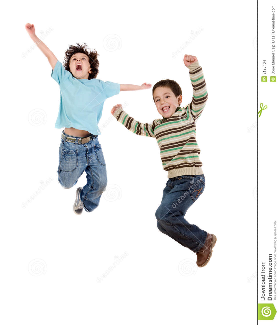 two happy children jumping at once stock images image 8190404. Black Bedroom Furniture Sets. Home Design Ideas