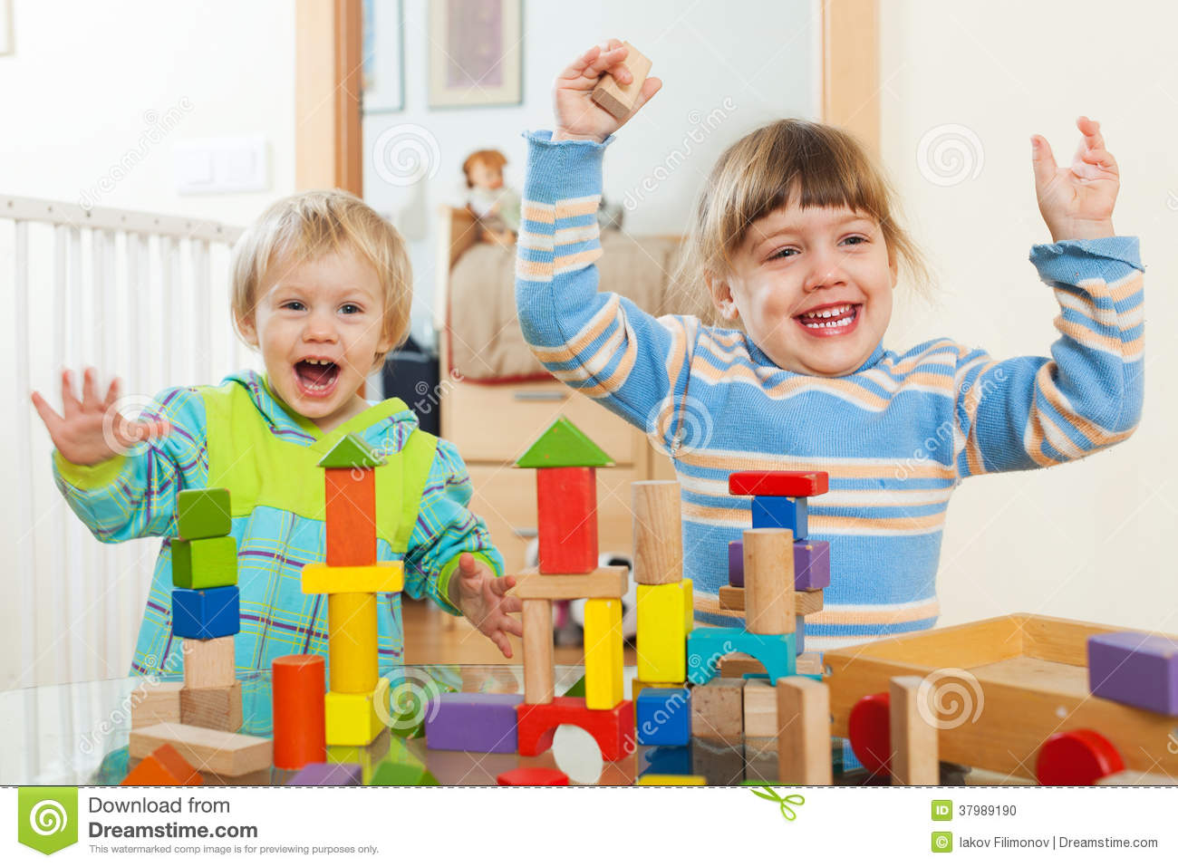 Two Happy Children Playing With Blocks In Home Stock Photo Image 37989190