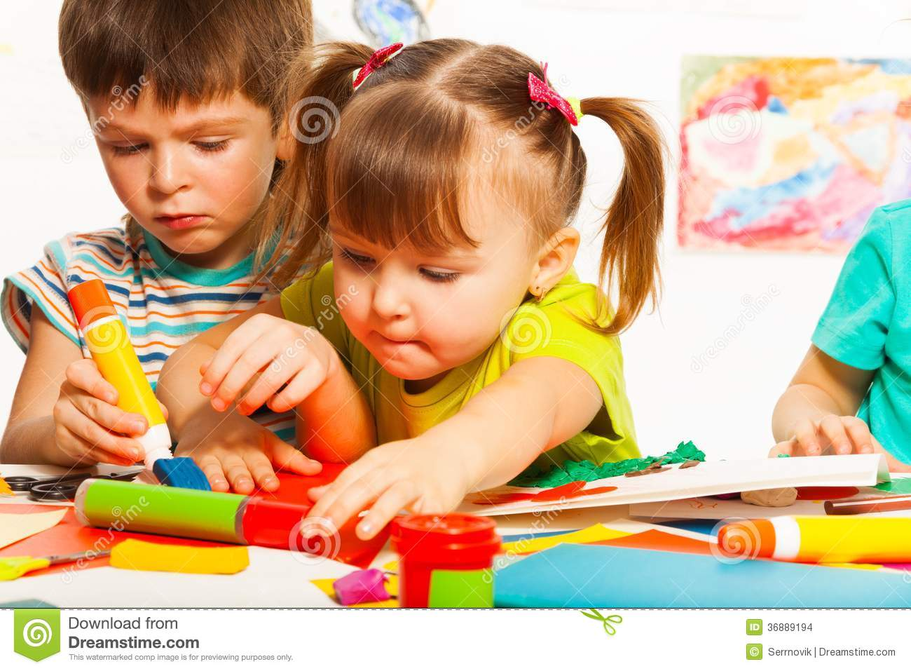 Two Happy Creative Kids Stock Images Image 36889194