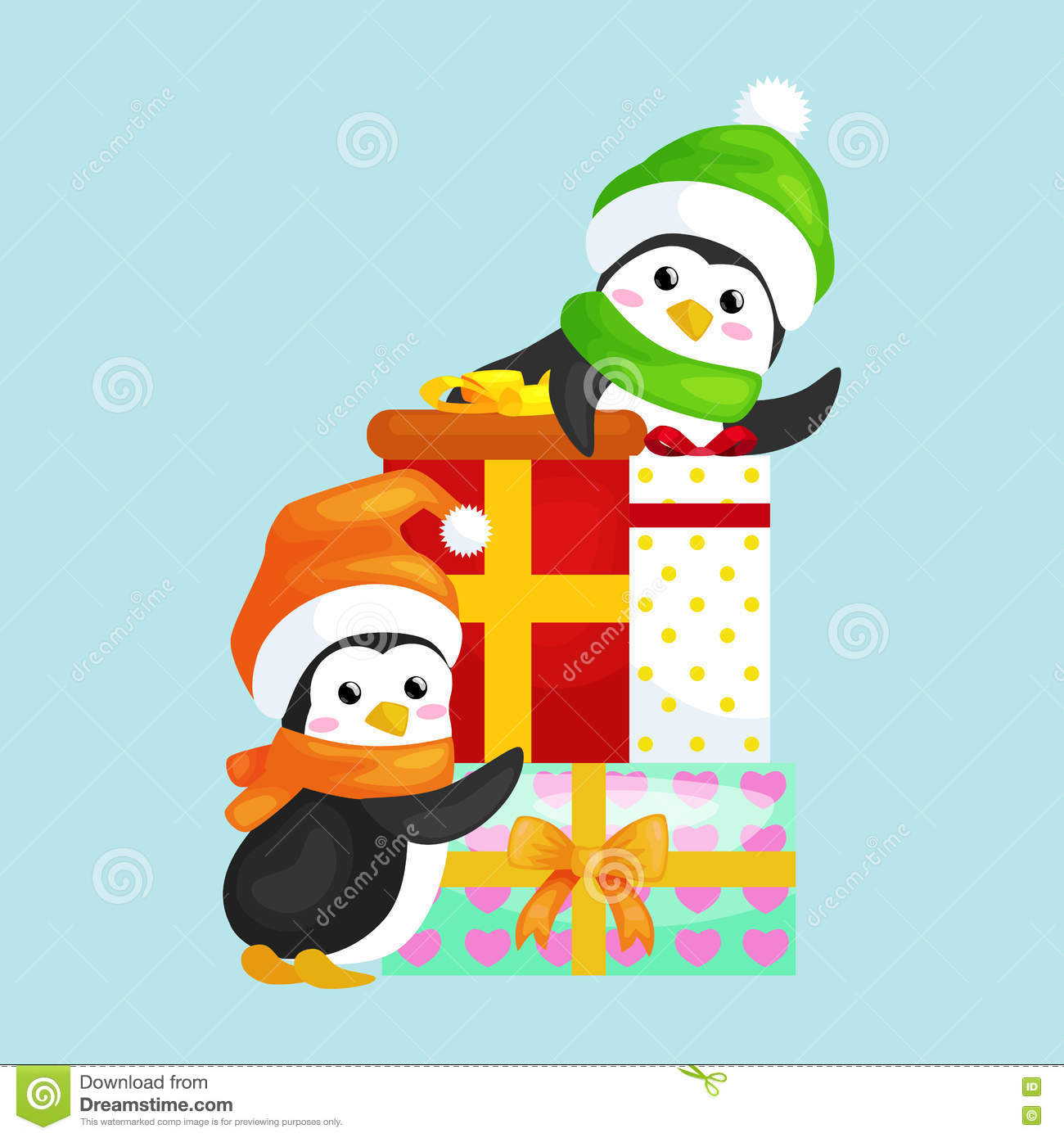 Two Happy Cute Christmas Penguin In Hat And Scarf Are A Stack Of ...
