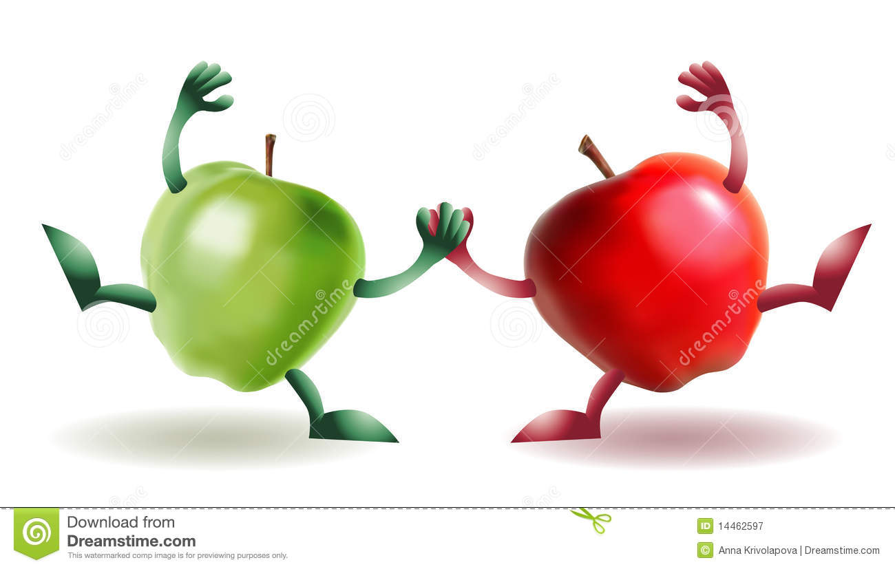 two happy funny apples royalty free stock photography