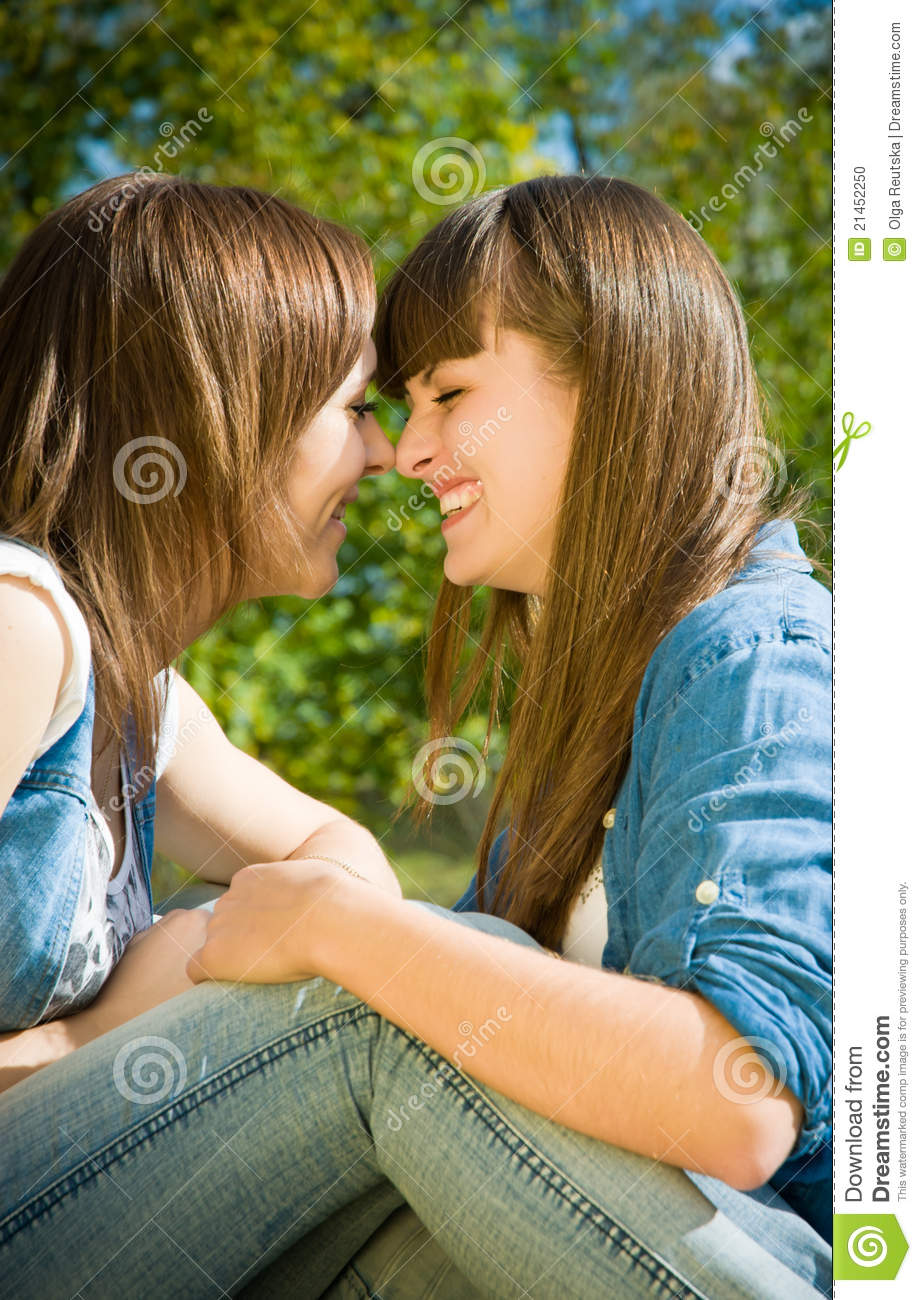 Two Happy Girls Noses Kiss Stock Photo - Image: 21452250