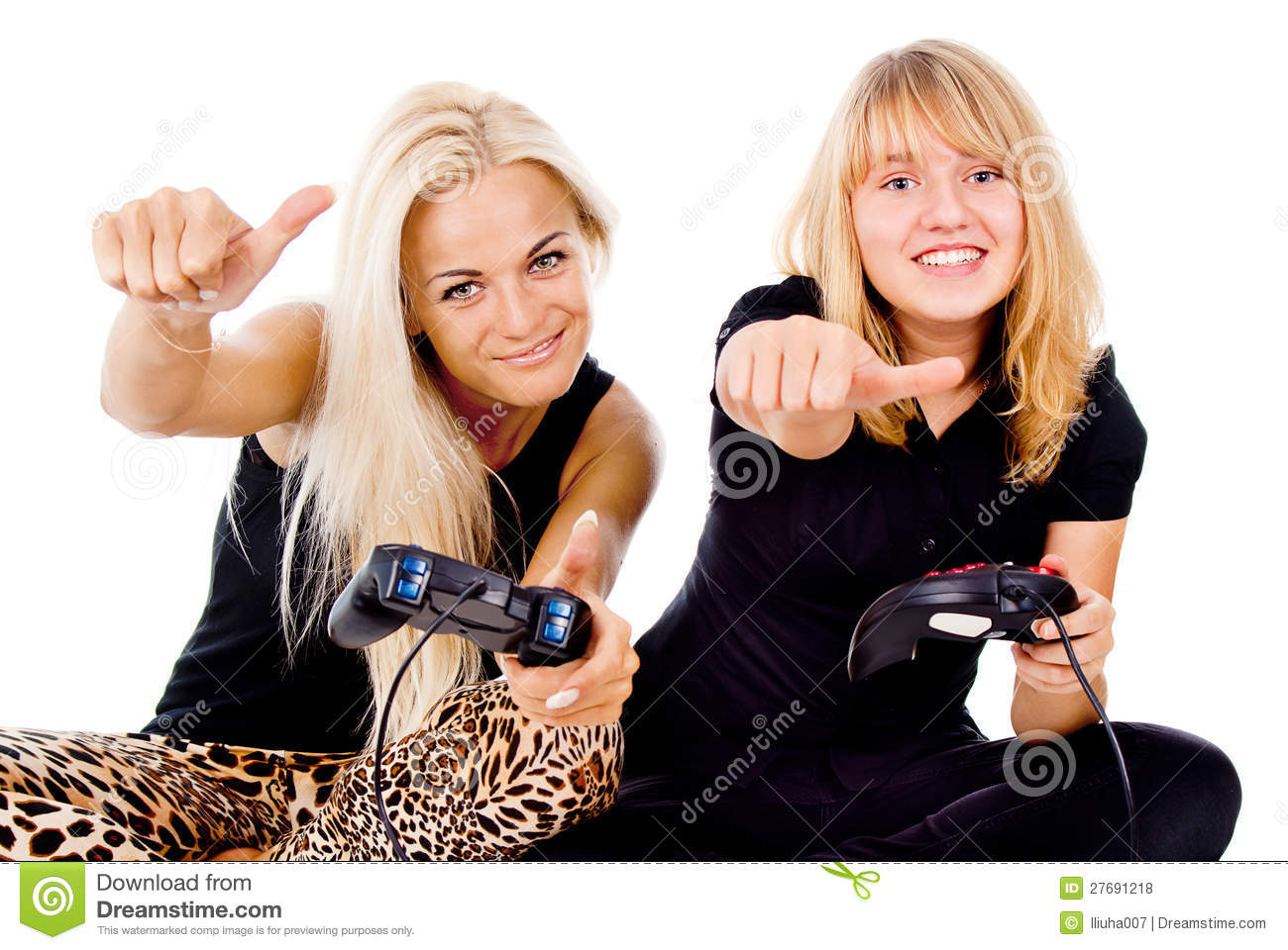Two Happy Girls Play Video Games Royalty Free Stock Photos -6591