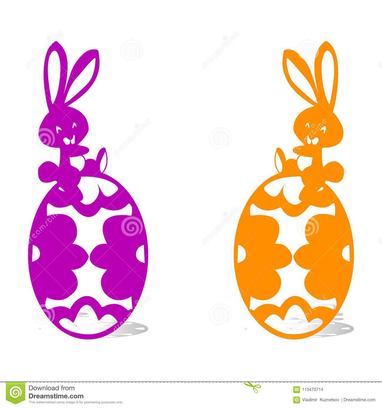 Two Happy Hare Sitting On Easter Eggs Silhouette White Backg
