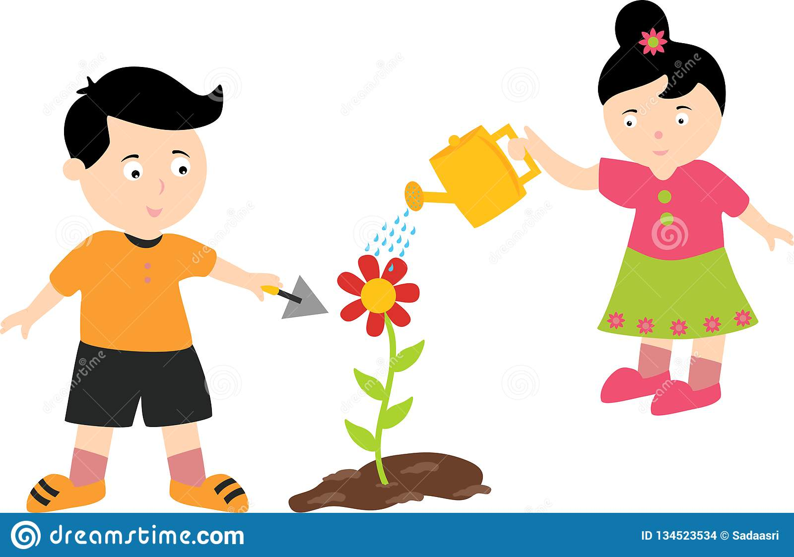 Two happy kids planting and watering plants