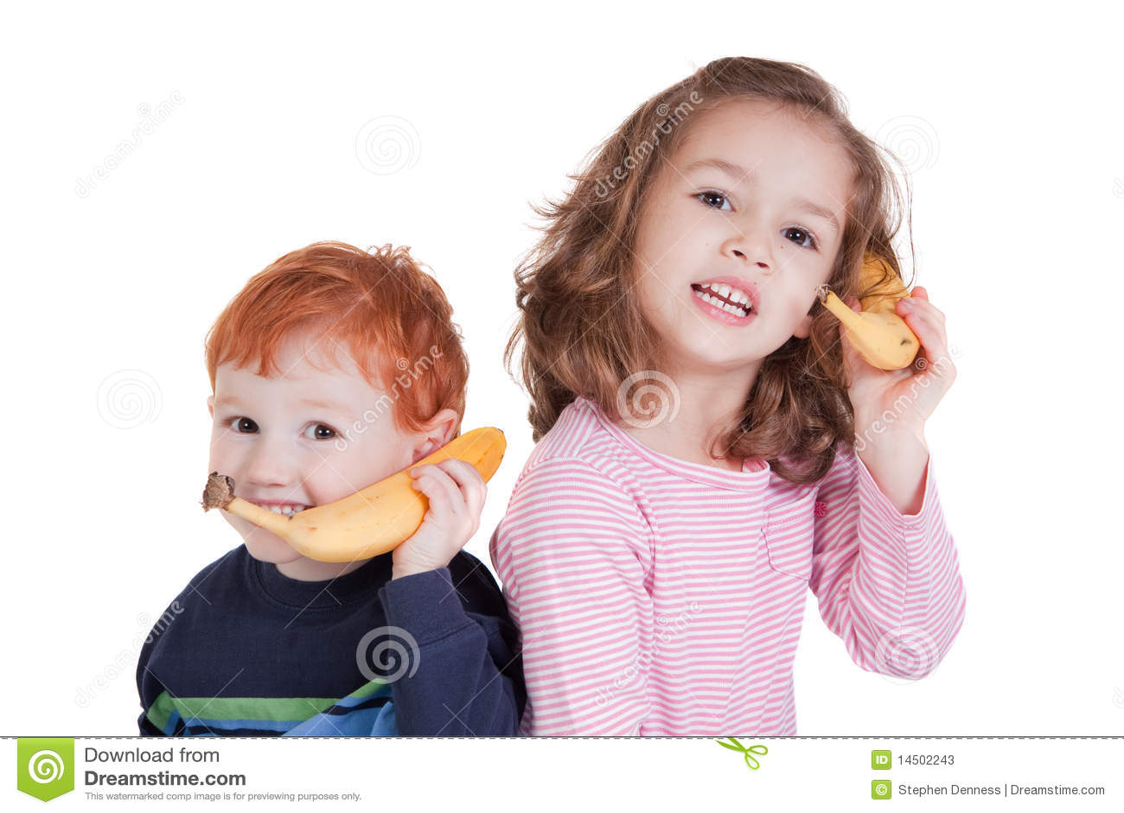 Two Happy Kids Talking On Banana Phones Stock Photos ...