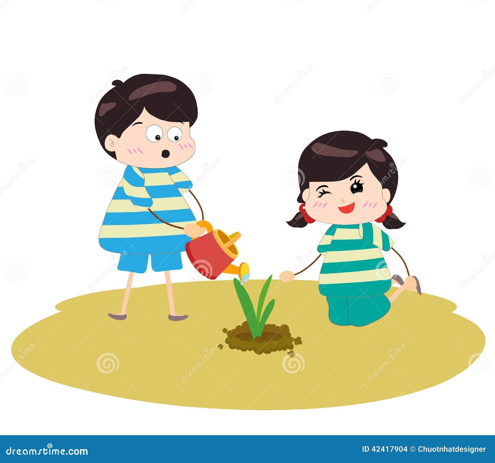 kids planting seeds cartoon