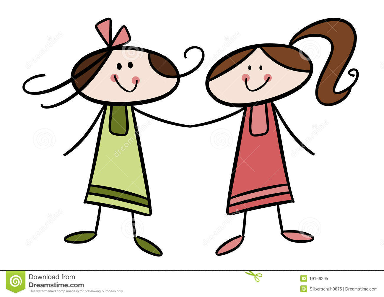 two happy little friends stock vector illustration of sister clip art free sister clipart quotes