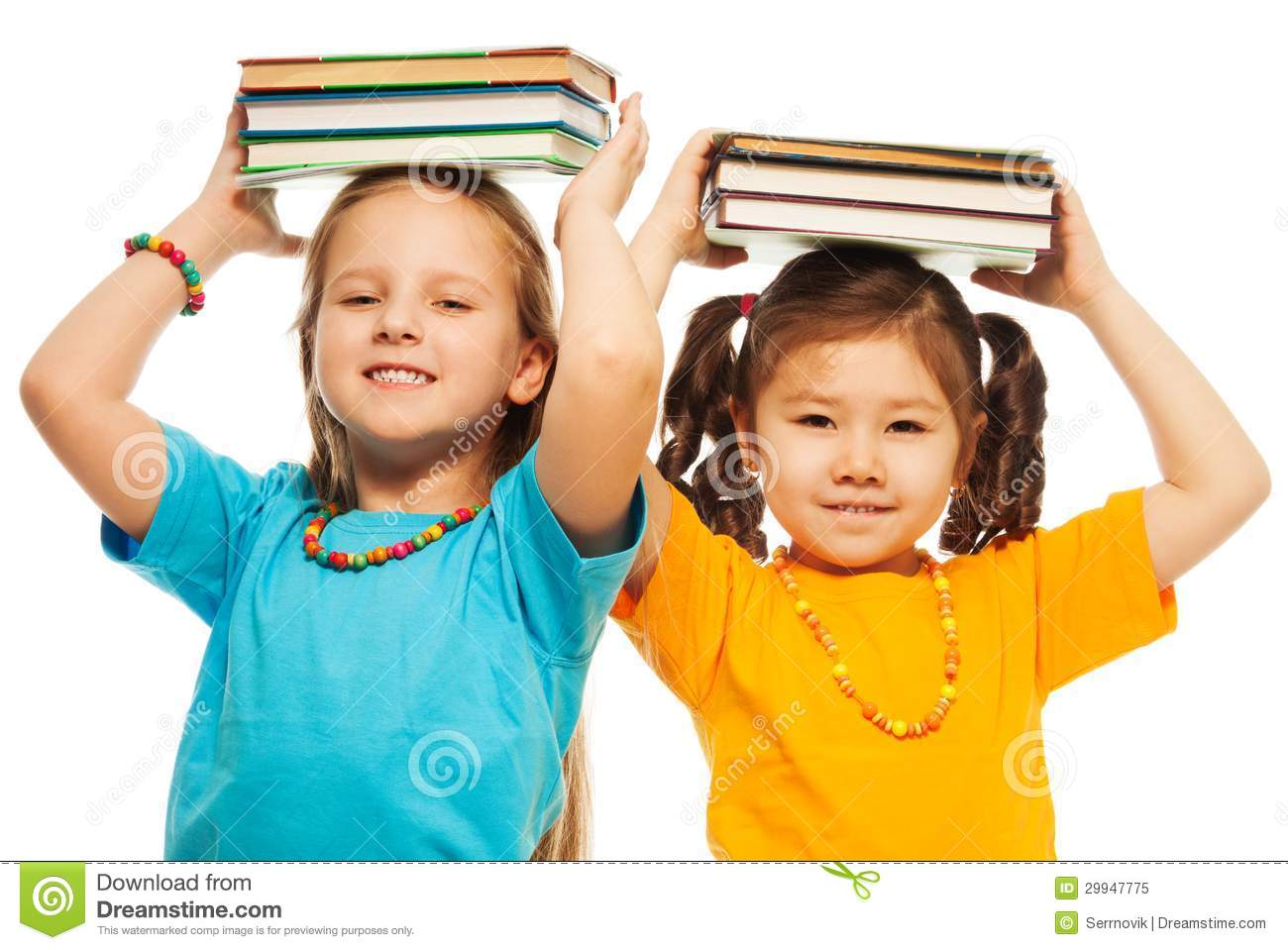 Two girls with books