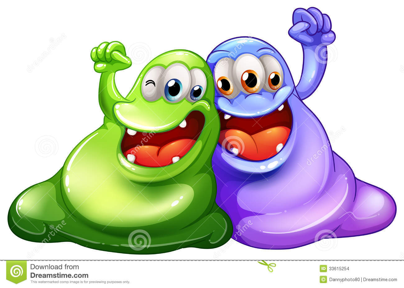 Happy Monster Illustration Two Happy Monsters Sto...