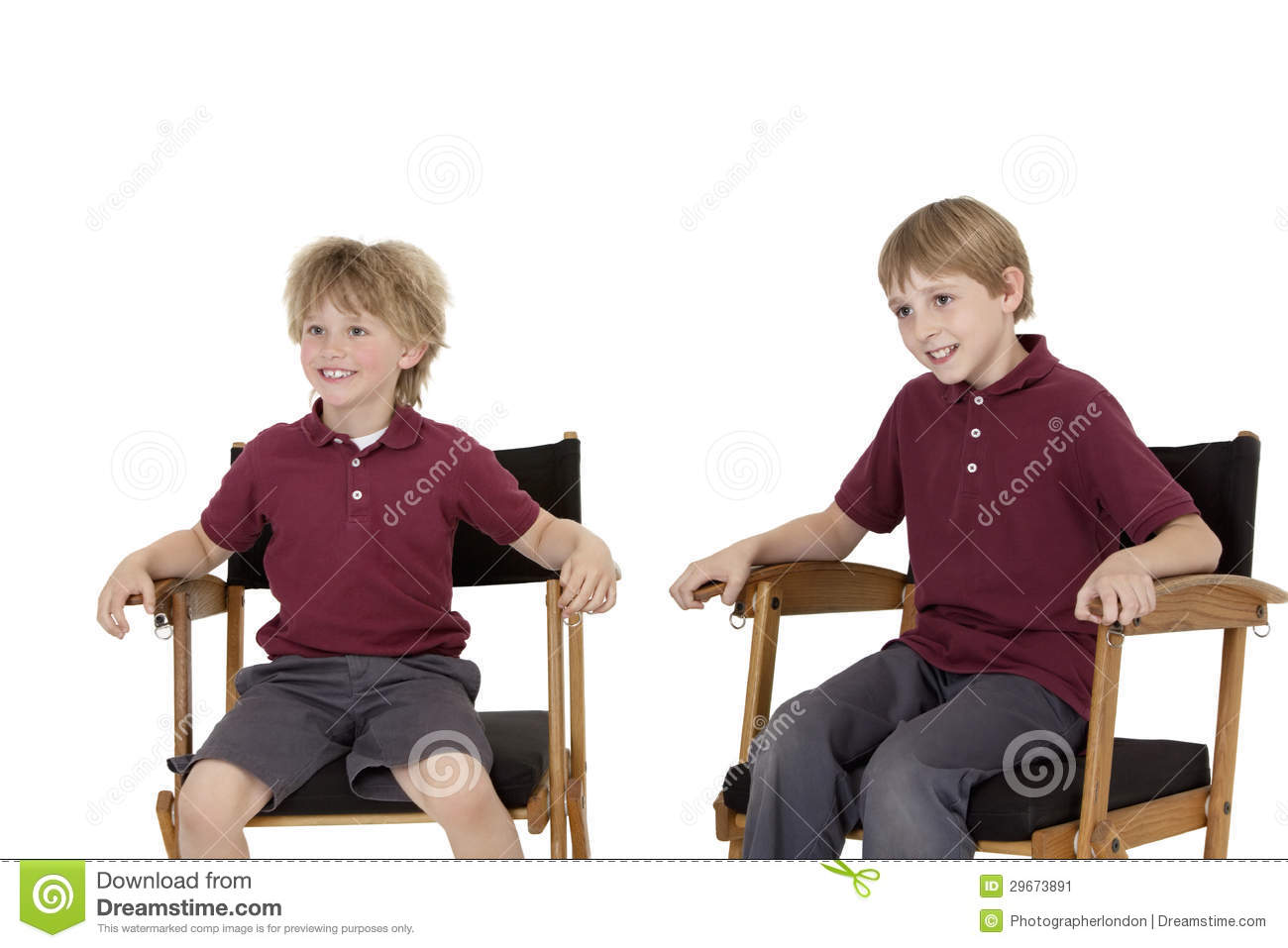 Royalty Free Stock Photo. Download Two Happy School Kids Sitting On Directoru0027s  Chair ...