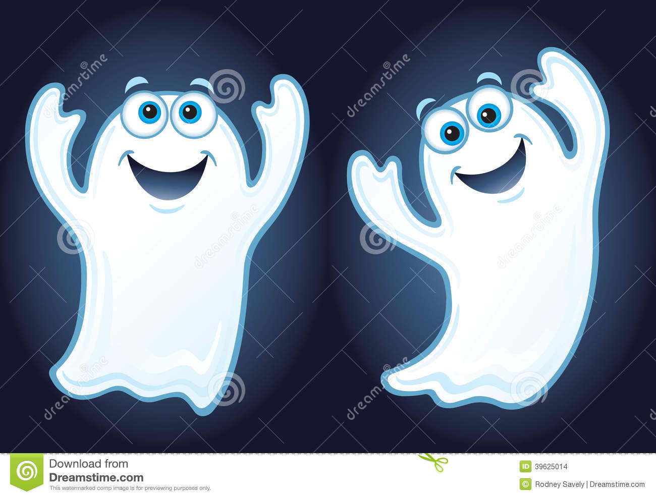 Two Happy Smiling Ghosts Stock Illustration Image 39625014