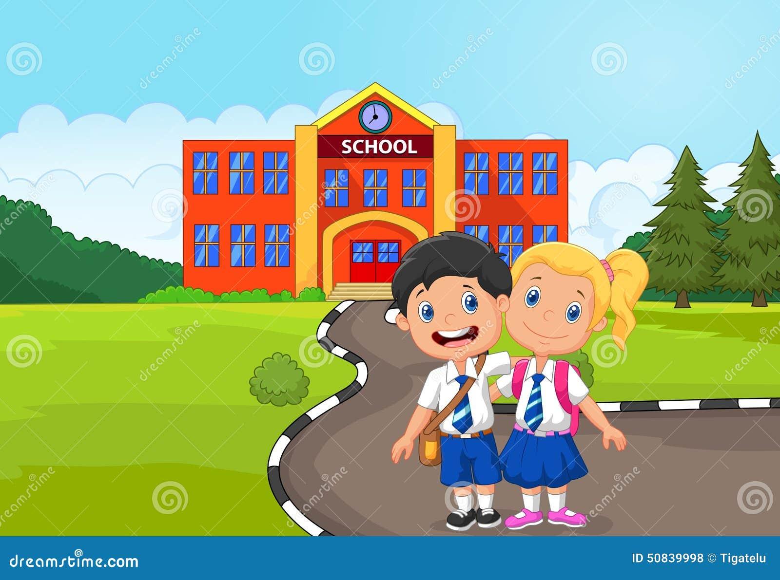 Two Happy Students Cartoon Standing In Front Of School Building Stock