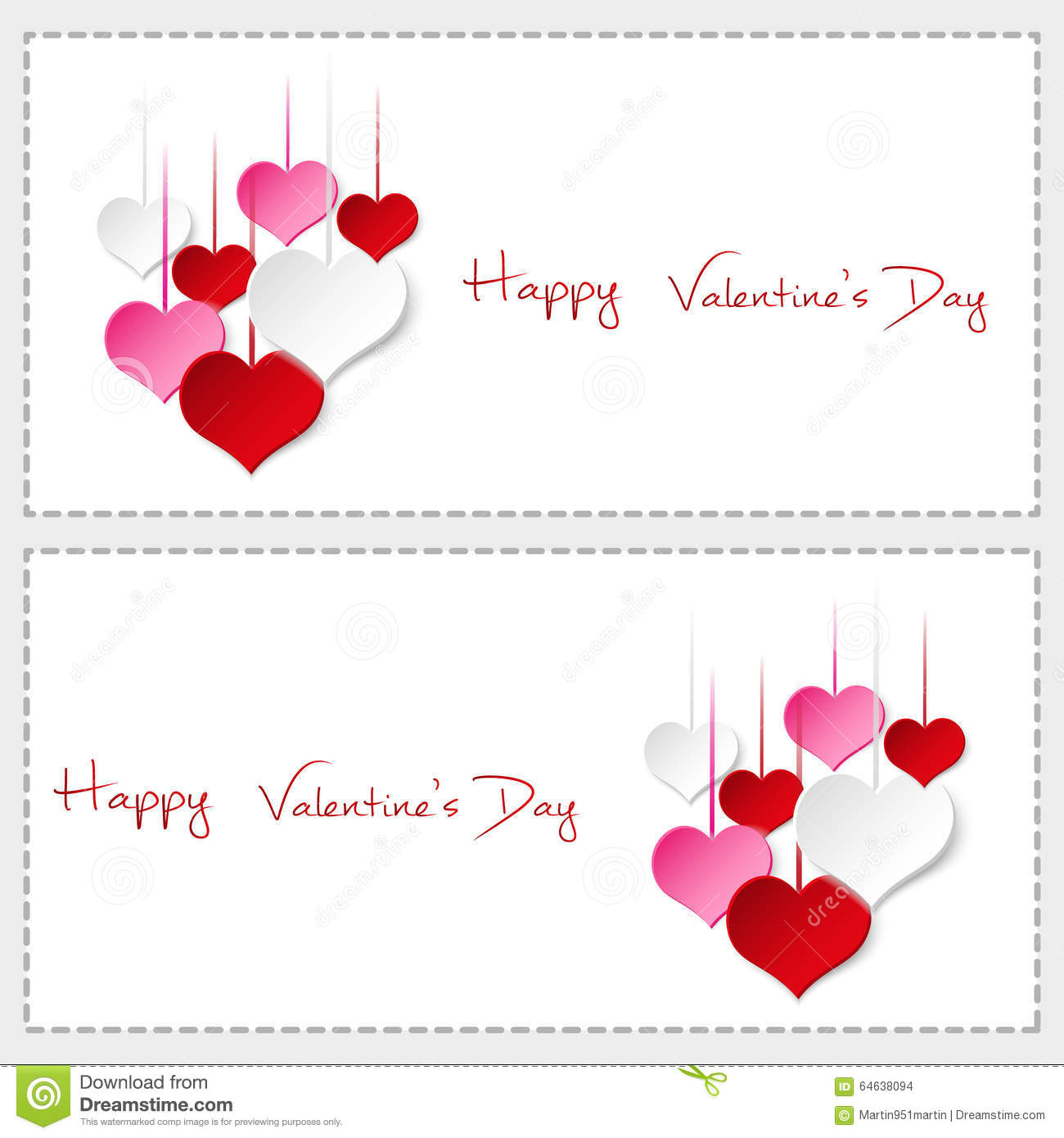 Two Happy Valentine Cards With Hanging Colorful Hearts Stock Vector