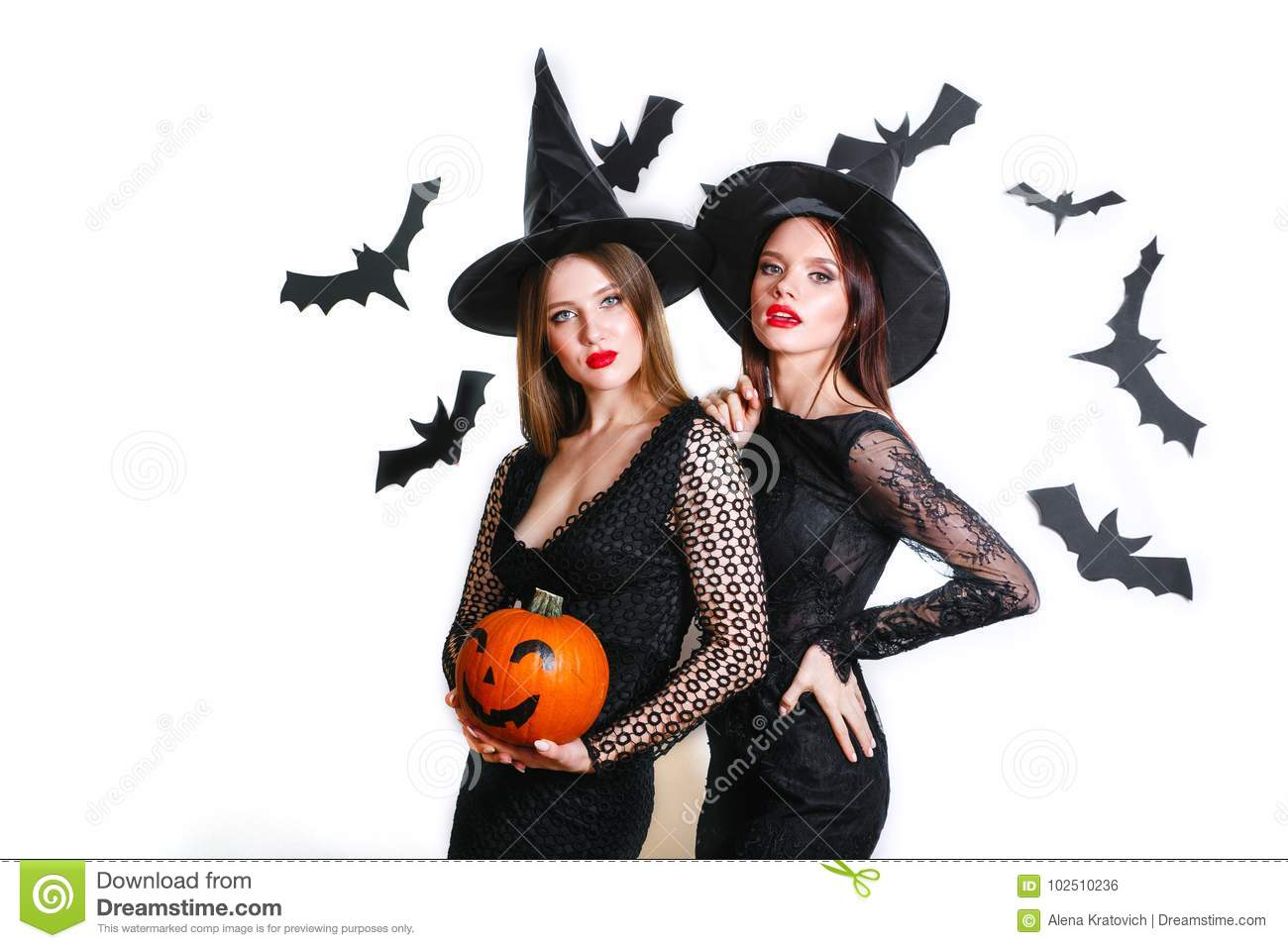 Halloween Costumes For Two Women.Two Happy Women In Black Witch Halloween Costumes With Pumpkin On Party Over White Background Stock Photo Image Of Beauty Girl 102510236