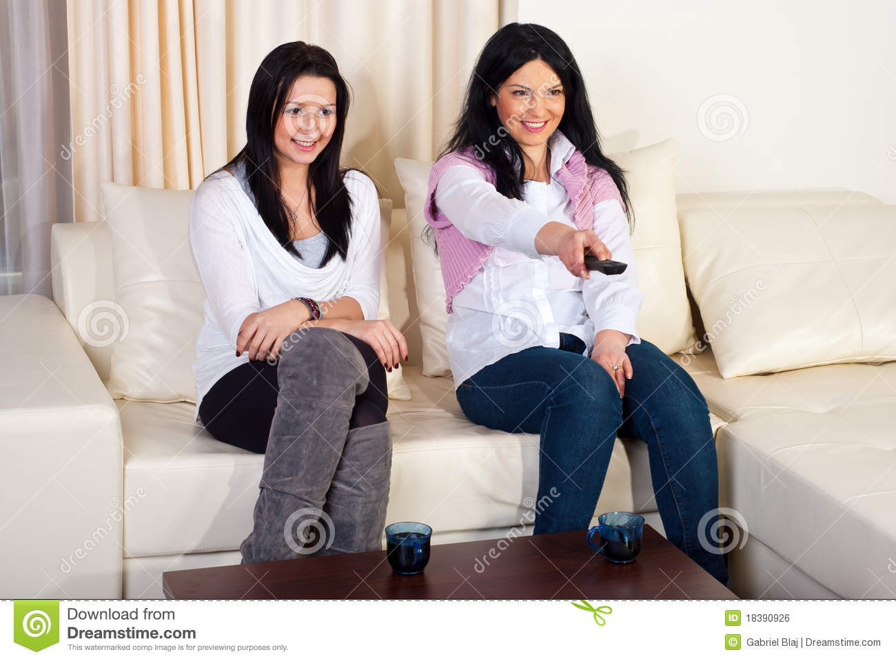 Two Happy Women Watching Tv Royalty Free Stock Image