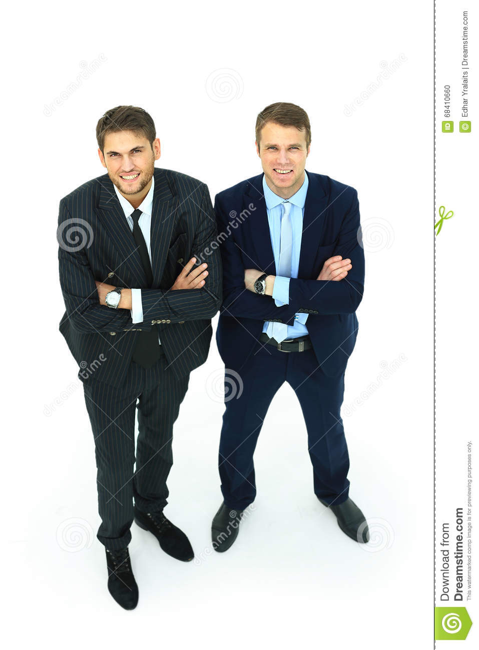 Two happy young businessmen full body