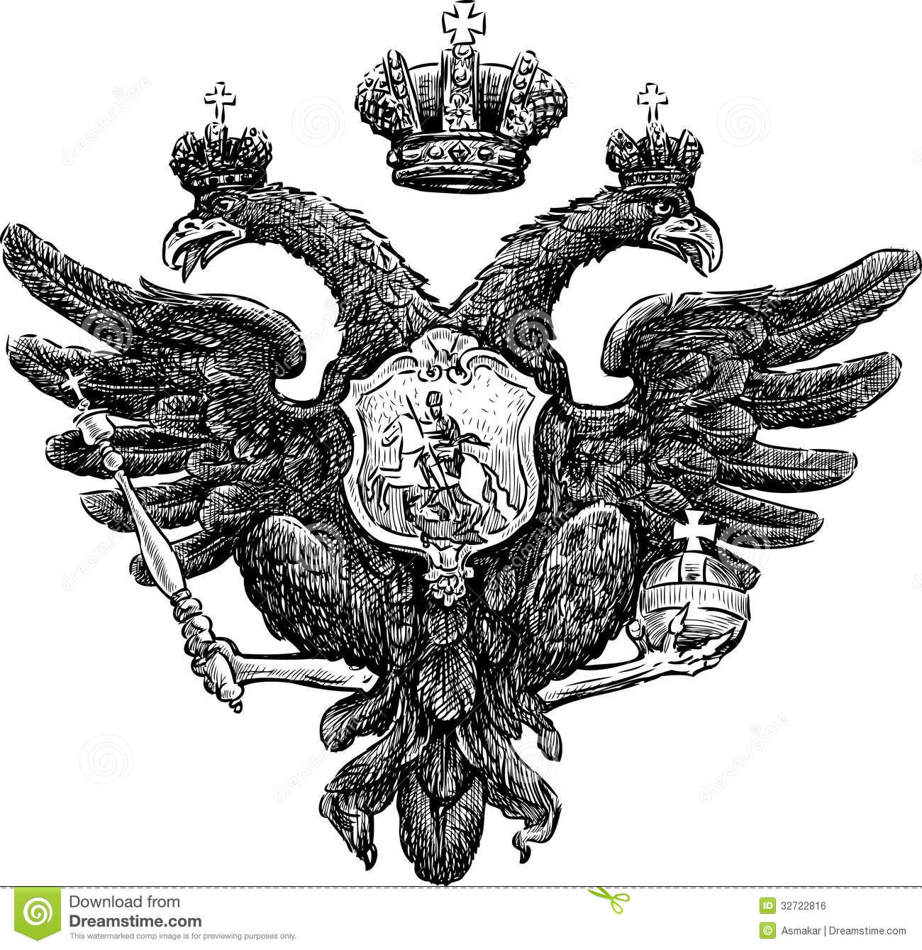 Two-headed eagle stock vector. Image of emblem, bird ...
